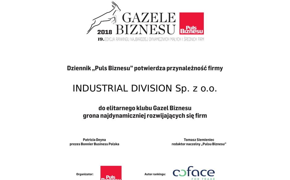 Kolejna Gazela Biznesu dla Industrial Division